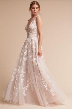 Blush Wedding Dress Styles We Love Bhldn Wedding Dress, White Wedding Gowns, Gorgeous Wedding Dress, Tulle Wedding, Dream Wedding Dresses, Bridal Dresses, Bridesmaid Dresses, Wedding Wear, Party Wedding