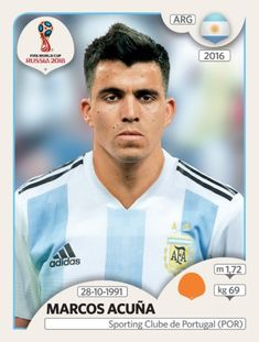 Marcos Acuna of Argentina. 2018 World Cup Finals card. 377a46952