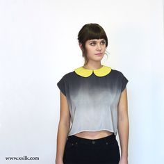 Peter Pan Collar Silk Blouse Ombre Chartreuse cropped top by XSILK on Etsy https://www.etsy.com/listing/164243619/peter-pan-collar-silk-blouse-ombre