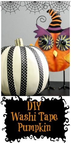 5 Minute Washi Tape Pumpkin! This fun and easy washi tape pumpkin literally takes less than 5 minutes and can be changed out at any time to start fresh! That's the joy of washi tape! Must pin and try this EASY diy!