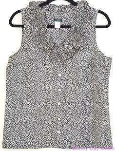 J.Crew Blouse Silk Ruffle Heart Valentine Button Front Sleeveless Annalise 10  #JCrew #Blouse #Versatile