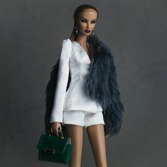 Natalia Fatale. Shorts suit, grey fur jacket, emerald bag by #shantommo