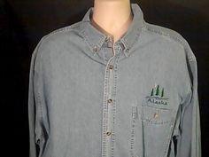 Alaska ALL SEASON DENIM Mens XL  Jean Shirt 100% Cotton #ALLSEASONDENIM #ButtonFront