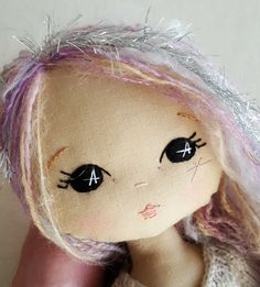 Sweet and simple doll faces on cream background Fabric ...