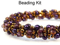 Beading Kit and Pattern - Sparkling Spiral Bracelet in Purples and Bronze #2447