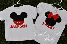Personalized Girl Minnie Mouse Shirt or Boys Mickey Mouse Toddler Shirt, , Disney Sibiling Shirts.