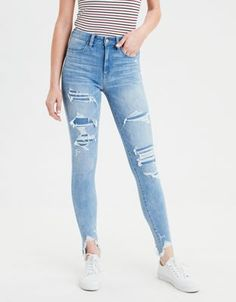 Outfits With Vans – Lady Dress Designs Outfit Jeans, Outfit Chic, Shorts Jeans, Vans Outfit, Mom Jeans, Cute Ripped Jeans, Ripped Jeggings, High Jeans, High Waist Jeans
