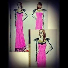 Vestido de festa conceitual, terceira idade: Tema artesanato brasileiro.