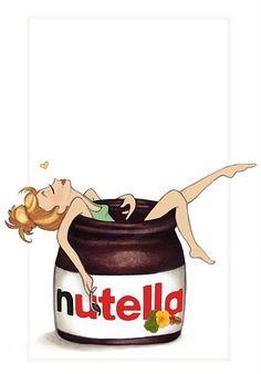 Girl in jar of Nutella cartoon art