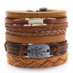 Leaf Charm Brown Genuine Leather Bracelet Stackable Set