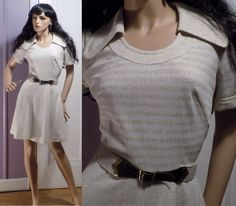 Vintage 1970s Sexy Knit Scoop Hippie Mod Boho Party Cocktail Dinner Mini Dress M #Unbranded