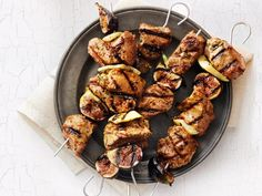 Rosemary Pork Kebabs with Fennel and Figs Recipe : Food Network Kitchen : Food Network Fig Recipes, Pork Recipes, Guava Recipes, Pork Skewers, Kebabs, Grilled Skewers, Chicken Kabobs, Good Peach Cobbler Recipe, Honey