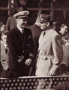 Clark Gable with Robert Montgomery while they were serving in World War II