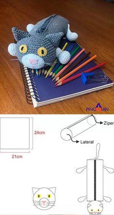 Crochet Pencil Case, Crochet Pouch, Gato Crochet, Crochet Dolls, Crazy Cat Lady, Crazy Cats, Kids Purse, Diwali Craft, Pencil Boxes