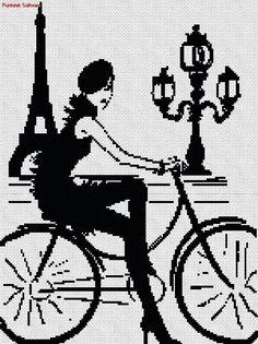 Bici en paris en punto cruz