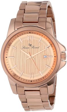 Lucien Piccard Men& Breithorn Rose Gold Tone Textured Dial Rose Gold Ion-Plated Stainless Steel Watch ** See this great watch. Emporio Armani, Lucien Piccard, Michael Kors, Stainless Steel Watch, Gold Watch, Plating, Quartz, Rose Gold, Texture