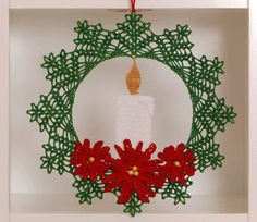 Poinsettia Candle Christmas Wreath Crochet Pattern More Crochet wreaths are fun to make, can be given as gifts and look terrific on display. Here are Christmas Wreath Crochet Patterns for you to use. Crochet Christmas Wreath, Crochet Wreath, Crochet Christmas Decorations, Crochet Ornaments, Crochet Decoration, Christmas Crochet Patterns, Holiday Crochet, Crochet Crafts, Crochet Flowers