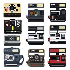 Fab.com | 8-Bit Polaroid Decal Set - these could be used as perler bead templates!