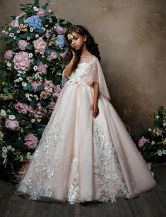 2303 Adelia Flare-sleeve Tulle Junior Bridesmaid Gown with Lace Appliques Princess Flower Girl Dresses, Tulle Flower Girl, Cheap Flower Girl Dresses, Girls Pageant Dresses, Tulle Flowers, Little Girl Dresses, Flower Girls, First Communion Dresses, Little Girl Fashion