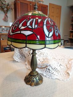 Vintage Coca Cola Lamp / Faux Tiffany Glass