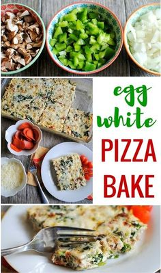 This egg white pizza bake is a protein-packed recipe made with pepperoni and sausage that can be enjoyed for breakfast, lunch or dinner. Egg White Recipes, White Pizza Recipes, Egg Recipes, Real Food Recipes, Healthy Recipes, Healthy Breakfasts, Lunch Recipes, Healthy Eats, Healthy Foods