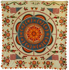 1855 Compass Medallion from the Quilt Index is beautiful.  Quilts designed with patterns and colors throughout were the handiwork of wealthy women, or possibly made as income-generating activity for poor women.  Quilts made for the personal use of poor families were simpler and usually repurposed scraps from old clothing.
