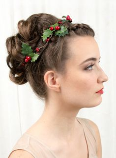 holiday hair accessories holly hair clip christmas by thehoneycomb