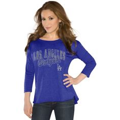 Touch by Alyssa Milano L.A. Dodgers Ladies Wildcard Three-Quarter Sleeves T-Shirt - Royal Blue