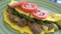 Steak & Asparagus Omelette (serves 1-2 depending on appetite)