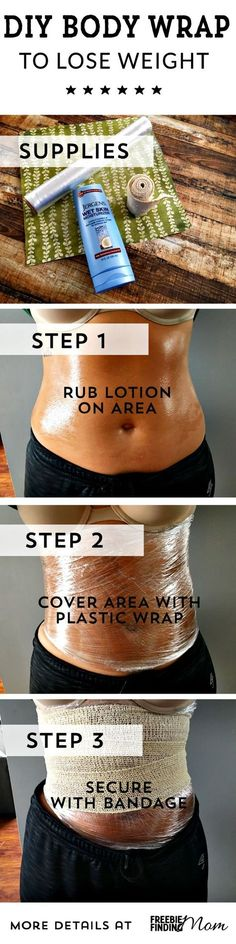 Are you ready for swimsuit season? To help get your body looking its best, consider DIY lose weight body wraps. This easy and inexpensive homemade body wrap requires just three items (lotion, plastic wrap and a bandage wrap) and takes mere minutes to make Diet Plans To Lose Weight, Loose Weight, Weight Loss Tips, How To Lose Weight Fast, Weight Gain, Body Weight, Losing Weight, Lose Fat, Get Healthy