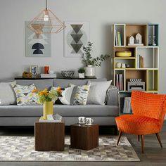 Pop Of Orange. Living Room OrangeGray ...