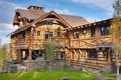 Rustic-luxe log cabin retreat in Big Sky, Montana Log Cabin Living, Log Cabin Homes, Log Cabins, Mountain Cabins, Rustic Cabins, Montana Homes, Rustic Exterior, Rustic Luxe, Mansion Interior