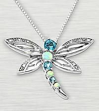 Blue Topaz Silver Dragonfly Pendant