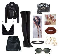 """""""Leather luvin' rocker babe x"""" by venexxxxx on Polyvore featuring Guild Prime, Boohoo, Sandro, adidas Originals, Moschino, Lime Crime, Humble Chic and Ray-Ban"""