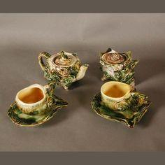Vintage Meeresfrüchte Teeservice aus Keramik.