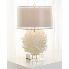 John-Richard Collection Selenite Table Lamp ($2,625) ❤ liked on Polyvore featuring home, lighting, table lamps, white, john richard lighting, colored lights, white lights, john richard lamps and handmade lamps