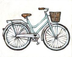 Cruiser  8x10 Print  Bicycle Illustration by heatherfuture on Etsy, $18.00