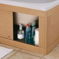 Storage panels under tub have your builder implement and utilize the