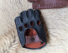 Men's fingerless leather gloves Driving Gloves by leathergloves4u