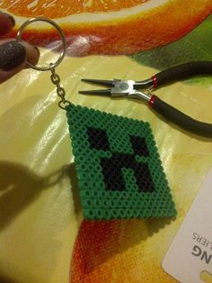 pearler bead key chain favor Minecraft Party | CatchMyParty.com