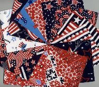 "4"" Quilt Fabric Charm Squares Patriotic Americana Sewing Quilting Kit"