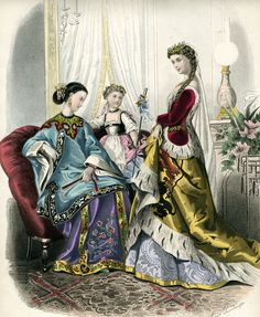 1867 January, La Mode Illustree. Chinese and medieval fancy dress on the women, unknown folk dress on the girl.