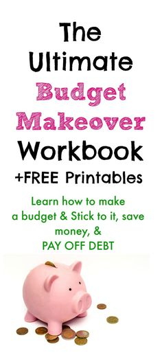 The ultimate budget makeover workbook includes savings charts visuals free printables how to budget save money and pay off debt. The budget makeover workbook is the only budget workbook you need to make a budget. Includes budget worksheets debt payoff worksheets budget printables debt pay off printables and learn how to make a budget for beginners. Its a budget planner budget workbook and budget worksheets all in one. Save Money Money Money Tips Make Money Saving Money Money Saving Tips…