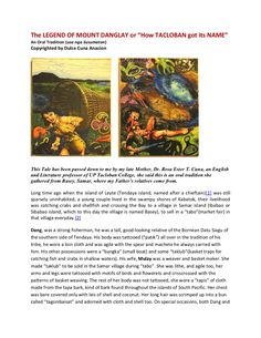 """11cdd360bc5d The LEGEND OF MOUNT DANGLAY or """"How TACLOBAN got its NAME""""An Oral Tradition"""