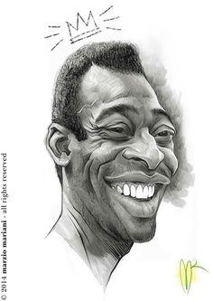 """El ex-jugador de fútbol """"Pelé"""", caricaturizado por el artista Marzio Mariani.     Pelé po..."""