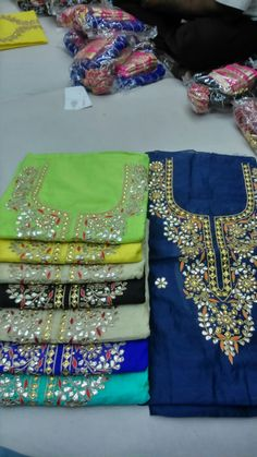 Chanderi unstitched kurtas with fusion of gota-danka-marodi n thread work...... For details contact 9001011177