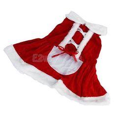 Santa Claus Pet Dog Costume Clothes Christmas Apparel Dress Outfit Apparel S