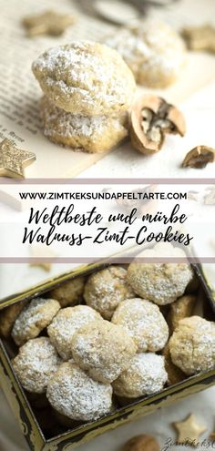 Zimt-Walnuss-CookiesMince walnut and cinnamon cookies are not only super tasty, but baked at lightning speed. The recipe for these spoon biscuits is super easy and stirred together very quickly. These are cookies that actually do not just tast Apple Pie Cookies, Walnut Cookies, Cookies Et Biscuits, Cupcake Recipes, Baking Recipes, Cookie Recipes, Dessert Recipes, Cinnamon Biscuits, Cinnamon Cookies