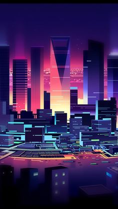 The simplicity of the city of flattening in the background – Cyberpunk Gallery Neon Wallpaper, Wallpaper Backgrounds, Neon City, Cyberpunk City, Japon Illustration, Graphisches Design, Retro Waves, Fantasy Landscape, Retro Futurism