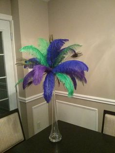 Peacock and Ostrich Feather Centerpiece for by Featherology2